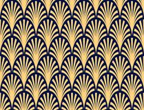 Vector seamless pattern abstract palm branch pattern dark blue and gold. For wallpapers, textile, packaging, design of luxury products - Vector Illustration royalty free illustration