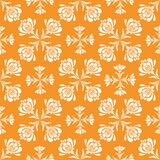Vector seamless pattern with abstract retro style flowers in geometric layout. Vector seamless pattern with minimalistic florals in retro style. Geometric Royalty Free Stock Images
