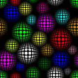 Vector seamless pattern. Abstract semless pattern with colorful volume circles on dark background. Vector pattern Stock Images