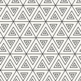 Vector seamless pattern. Abstract stylish monochrome geometric background with spirally twisted triangles. Ancient ornamental texture Royalty Free Stock Photography