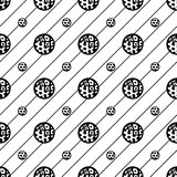 Vector seamless pattern. Abstract texture. Repeating background with circles and stripes with diagonal direction Stock Photos