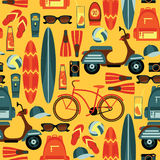 Vector seamless pattern of active summer holidays. Royalty Free Stock Photo