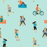 Vector seamless pattern with active young people. Healthy lifestyle. Roller skates, running, bicycle, walk, yoga. Design element in pastel colors with textures Stock Photography