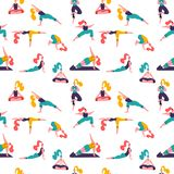 Healthy lifestyle. World Health Day. Vector seamless pattern with yoga class with people meditating, doing breathing exercise. royalty free illustration