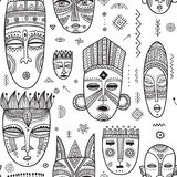 Vector seamless pattern with African ethnic tribal masks decorat Stock Images