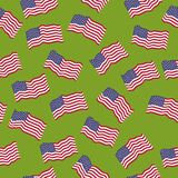 Vector seamless pattern: American flags. Royalty Free Stock Image
