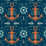 Vector seamless pattern with anchor. Vector seamless pattern with anchor, helm and fish. Marine background. Template for design banners, postcard, invitation Stock Images