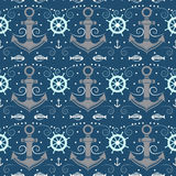 Vector seamless pattern with anchor. Stock Photos