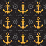 Vector seamless pattern with anchor. Vector seamless pattern with anchor, helm and fish. Marine background. Template for design banners, postcard, invitation Royalty Free Stock Image