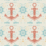 Vector seamless pattern with anchor. Vector seamless pattern with anchor, helm and fish. Marine background. Template for design banners, postcard, invitation Stock Photography