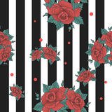 Vector seamless pattern, anchored with a flower Stock Image