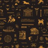 Seamless pattern on the theme of ancient Greece. Vector seamless pattern on Ancient Greece theme in black and orange colors. Wallpaper, wrapping paper or fabric vector illustration