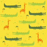 Vector seamless pattern with animals: giraffe, crocodile Stock Photo