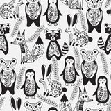 Vector Seamless Pattern with  Animals and Spring Branches Stock Photos