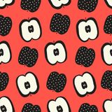Vector seamless pattern with apples. Royalty Free Stock Photo
