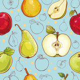 Vector seamless pattern with apples and pears. Bright vector seamless pattern with fresh apples and pears. Single apple and pear, part of apple and pear, colored Royalty Free Stock Image