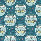 Vector seamless pattern with an aquarium and fishes couple. Royalty Free Stock Image
