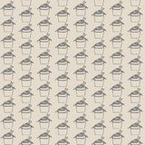 Vector seamless pattern with asian fast food on beige background. Gray Wok contours. Royalty Free Stock Photo