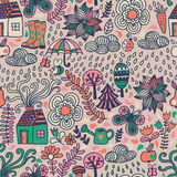 Vector seamless pattern, autumn doodles card. Hand draw trees an Stock Image