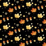 Vector seamless pattern with autumn leaves and heart. Eps 10 royalty free illustration
