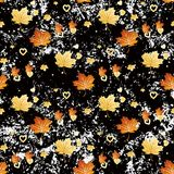 Vector seamless pattern with autumn leaves and heart. Eps 10 stock illustration