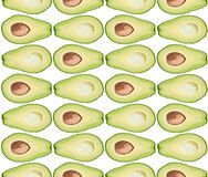 Vector seamless pattern of avocado slice on white background Royalty Free Stock Photos
