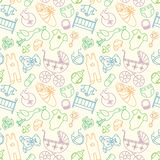 Vector seamless pattern with baby elements. Newborn clothes and. Accessories repeating background in doodle style for textile, wrapping paper, scrapbooking stock illustration