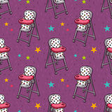 Vector seamless pattern with baby feeding chair Stock Images