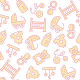 Vector seamless pattern with baby items Stock Image