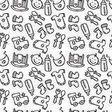 Vector seamless pattern with baby objects. Newborn clothes and accessories background in doodle style Stock Image