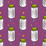 Vector seamless pattern with baby powder bottle Royalty Free Stock Image