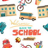 Vector seamless pattern of back to school flat cartoon style Stock Photography