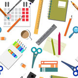Vector seamless pattern of back to school flat cartoon style Royalty Free Stock Photo