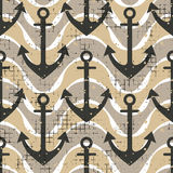 Vector seamless pattern Background with anchor, waves Creative geometric vintage backgrounds, nautical theme Graphic illustration Royalty Free Stock Photography