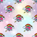 Girl power lgbt seamless pattern background. Vector seamless pattern background design with feminism symbols, girl power heart with lgbt gay rainbow. Textile stock illustration