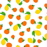 Vector seamless pattern background with hand drawn lemons in vintage style. On white. Stock Photography