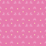 Vector seamless pattern background with hearts and yellow flowers. Stock Photo