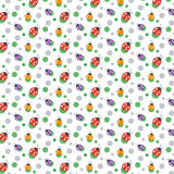 Vector seamless pattern background. With ladybugs and dots. Royalty Free Stock Photo