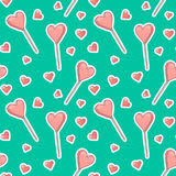 Vector seamless pattern background with stickers hearts and Popsicle. Pink textured ice cream or candy lollipops in the shape of a. Heart. Turquoise backdrop royalty free illustration