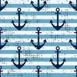 Vector Seamless Pattern Background With Anchor, Horizontal Lines Creative Geometric Vintage Backgrounds, Nautical Theme Graphic Il Stock Photos