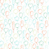 Vector seamless pattern with balloons of different shapes Royalty Free Stock Photography