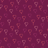 Vector seamless pattern with balloons in the form of hearts Stock Image