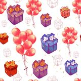Vector seamless pattern with balloons, Gift boxes. Abstract colorful background. Design concept for holidays birthday. Greeting cards, festival decoration, gift vector illustration