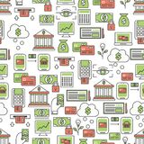 Banking concept vector flat line art seamless pattern. Vector seamless pattern with bank finance symbols, icons. Banking background, wrapping paper texture thin Royalty Free Stock Photos