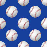 Vector seamless pattern of baseball balls on blue background Royalty Free Stock Images