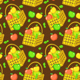 Vector seamless pattern with baskets of apples Stock Images