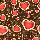 Vector  seamless pattern with  beads and hearts Stock Images