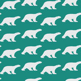 Vector seamless pattern with bear on blue background. Stock Photos