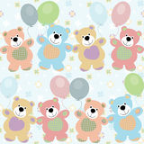 Vector seamless pattern with bears Stock Images