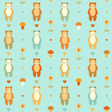Vector seamless pattern with bears. Flowers and mushrooms Stock Photos